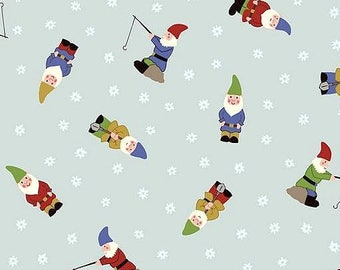 Fabric, Garden Gnomes on Pale Blue, Grandmas Garden, Lewis and Irene,  By The Yard