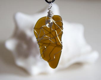 Large Brown Sea Glass Penant