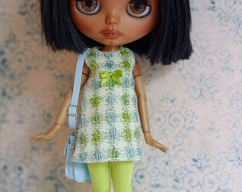 Blythe dress, in green and blue, A-line