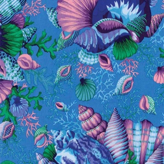 SHELL BOUQUET BLUE pwpj088 Philip Jacobs for Kaffe Fassett Collective Sold in 1/2 yd increments