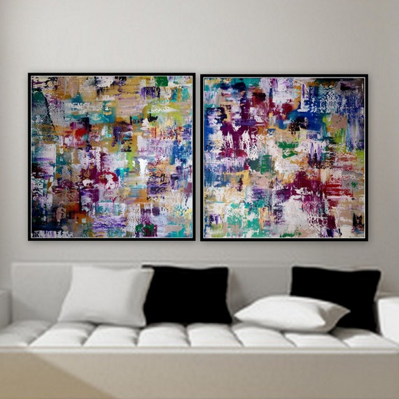 2 panel paintings 36 x36 custom order large 2 panel artwork original paintings wall art by Marcy Chapman