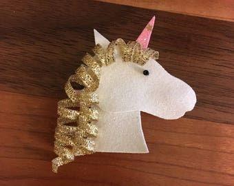 Unicorn Hair Clip Ribbon Sculpture