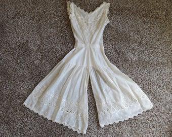 Vintage White Eyelet Edwardian All in One Combination Undergarment