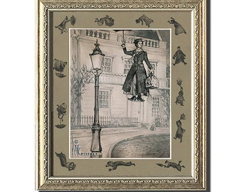 MARY POPPINS art print signed by Dave Woodman