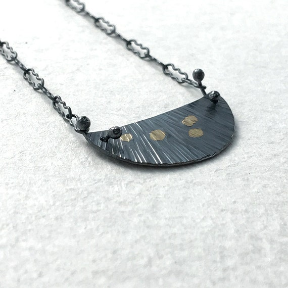 Sessile Necklace in Recycled Sterling Silver & 18k Gold