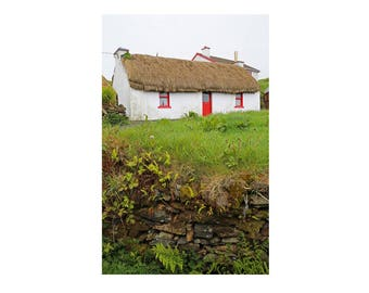 Irish Cottage Photography, Ireland Art Print, Cottage Decor, Thatched House Art, Home Decor, Irish countryside - Red Cottage