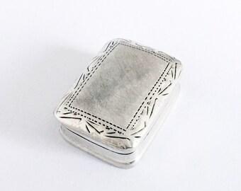 Vintage Solid Silver Art Deco Pill Box Snuff Box Tobacco Box Rectangular Sterling Pillbox