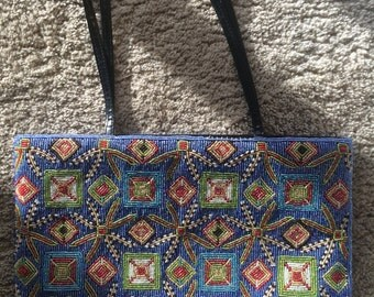 Vintage Colorful Beaded Handbag