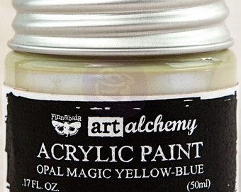 Finnabair Art Alchemy Opal Magic Prima Acrylic Paint 1.7 oz  YELLOW-BLUE  opalescent #963606