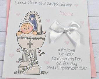 Personalised Handmade Baby Girl Christening/Baptism Card