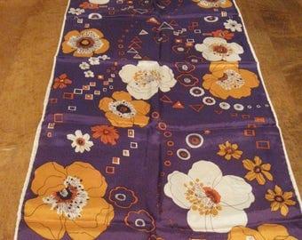 Vintage Purple Orange Long 70's Japan Scarf Flowers Very Bold-Excellent!