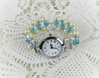 Wrist watch quartz watch bracelet ladies watch beads glass beads