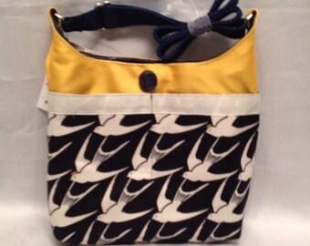 Junior Bag: Wonderful bird graphic flower cotton print shoulder purse