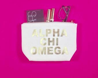Alpha Chi Omega Cosmetic Bag   A Chi O gift   bid day   rush   gold   big sis   lil sis   sorority