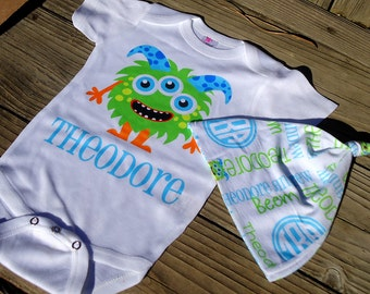 Personalized Monster Baby Boy Gift Set - Little Monster Bodysuit or Gown & Knotted Beanie Hat - Custom Hat, One-Piece - Coming Home Outfit
