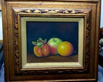 Vintage Artist Signed Fruit Still Life Painting Carved Wood Picture Frame