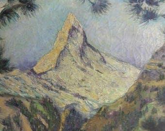 Old Vintage Mountain Landscape Oil Painting Signed