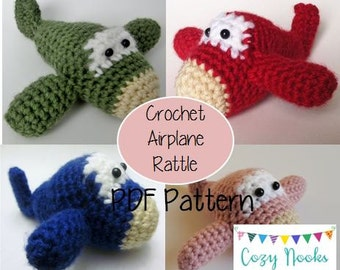 Baby Airplane Rattle Pattern, Crocheted Airplane Pattern, Crochet Airplane Pattern, Baby Toy Pattern, Crocheted Baby Toy Pattern, Rattle