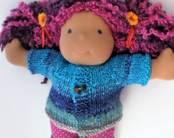 "Waldorf doll clothes, hand knitted doll sweater, waldorf doll sweater, 15"" to 16"" doll sweater"
