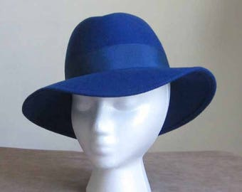 Wool Felt Blue Fedora Style 1960's Wool Felt Hat with Blue Grossgrain Ribbon and Bow Accent Vintage