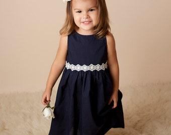 Classic Empire Waist Navy Cotton Dress with Vintage Trim Girls Size 2
