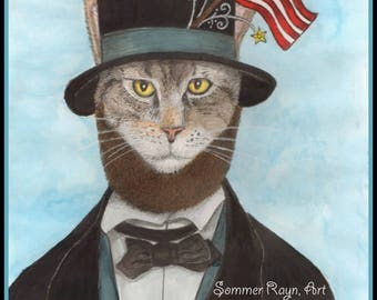 Abraham Lincoln, the Presenditial Cat, Presidents Day, 4th of July,  Cats, Drawing with Watercolor accents, Card or Print, Item #0569a