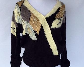 80's Black & Metallic Embellished/Beaded Sweater by Jaclyn Smith