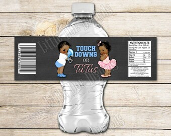 """INSTANT DOWNLOAD - Touchdowns or Tutus - Football - Gender Reveal - Bottle Labels 2x8"""" African American - Boy or Girl - Pink or Blue"""