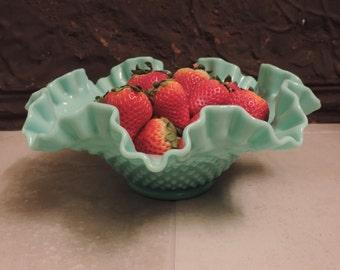 Fenton Mint Pastel Hobnail Milk Glass Bowl Mid Century Fenton Pastel Mint Green Bowl Fenton 1950's Hobnail Pattern Bowl