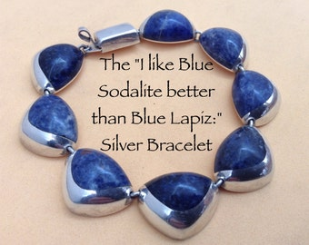 Taxco 925 Sterling Silver Blue Sodalite Bracelet A Marriage of Silver and Stone.