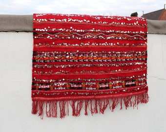 Authentic Moroccan Handmade Handwoven Kilim 100% Wool and Sequins Rug - Red Black & Orange - 1.39 x 0.71 m
