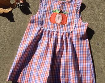 Purple and orange plaid girl   dress with a pumpkin applique Sale size 2, size 5 Handmade Custom