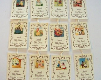 Vintage Mother Goose, Nursery Rhyme Tags, Baby Shower, Birthday, 1st Birthday, Personalized Tags, Size 2 x 3 inches, Set of 12