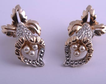 1950's Kigu Orchid Clip On Earrings With Marcasite And Faux Pearls (928j33)