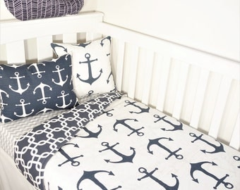 Navy and white nautical anchor nursery set items