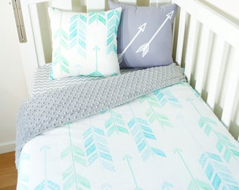 Mint, aqua, blue, green arrows, grey minky nursery items