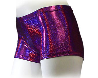 Womens Pink/Purple Holographic  Nylon Spandex Dance Shorts. Sparkly holographic shorts.  Wear for dance, derby, and gymnastics.