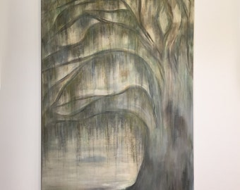 Mossy Oak, Tree Painting on Canvas, 24x48,