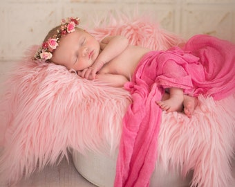 NEW....Curly ROSE PINK Sheep Faux Fur, Newborn Baby Photo Prop, Flokati Look, Faux Sheep Fur, Luxury Photo Prop,