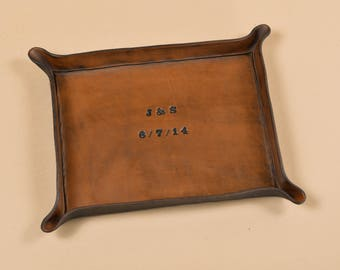 Third Anniversary Gift - Personalized Leather Tray with Date and Initials