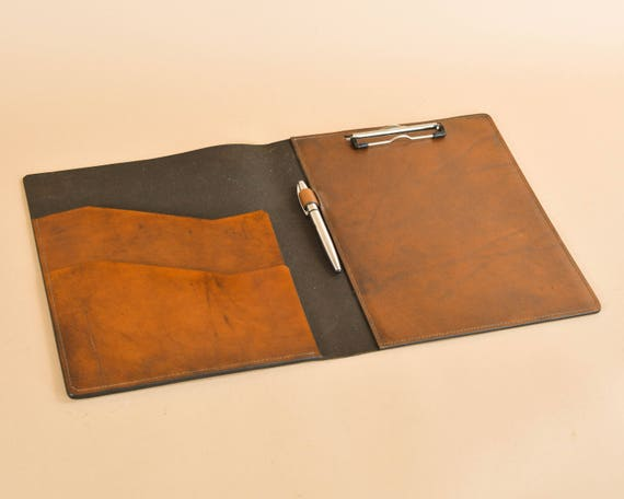 Leather Clip Board Folio - Writing Board Portfolio - Full Grain Leather