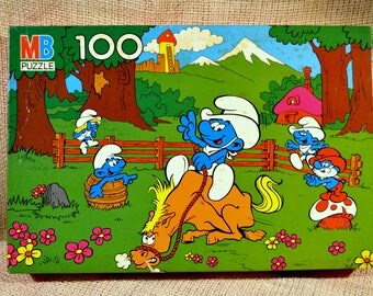 Smurf PUZZLE // 100 piece puzzle // Rodeo theme puzzle // gift for child // Child room decor
