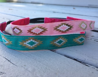 Tribal Pink and Mint  Nonslip  Workout Headband || Gold - No Slip - Nonslip Headband - Gift - Summer Headband - Yoga Headband - Running