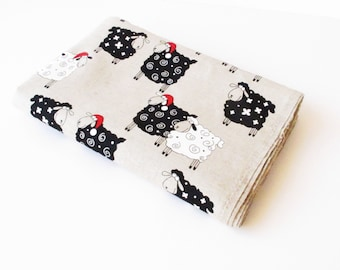 "78.7"" Linen Cotton 55/45 Fabric 2.18 Yard Sheep Printed White Black Grey Red 150 x 200cm Home Decor Kitchen Towel Gift Back Kids Childrens"
