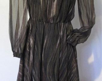 DRESS Genuine 1980s VINTAGE Long sleeve Fit & flare Full circle skirt Sheer Sz 8-10 Party Retro