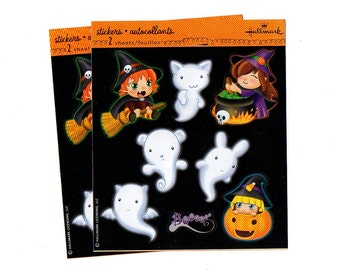 Stickers Halloween Holiday Hallmark Witches Ghosts Pumpkins (2 Sheets)