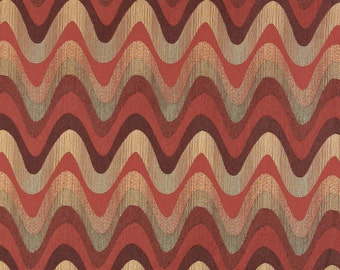 Red Burgundy Gold And Green Wavy Chevron Striped Contemporary Upholstery Fabric By The Yard | Pattern # A0028B