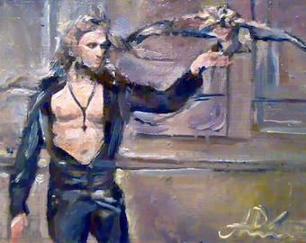 Original art,gay art interest, male torso,model boy falconery,man birds of prey. es