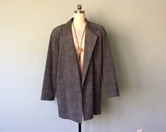 Oversized Blazer Padded Shoulder 1980s Ultrasuede Fabric Gray Windowpane Pattern Long Lightweight Jacket Size Medium