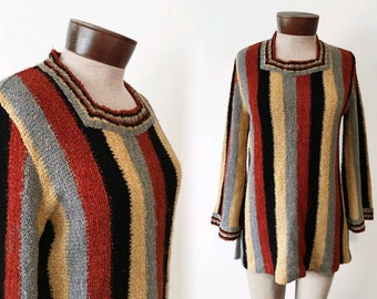 Vtg 70s NUBBY KNIT pullover sweater - stripe TUNIC - bell sleeves - sz S
